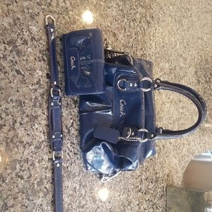 Coach Patent Leather Navy Satchel